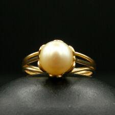 O37 - Ancienne Bague en OR 18K Montée d'une Perle de culture T48