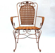 2 X Arm Chairs In Copper colour Iron Frame and Brown Colour Wicker  NEW