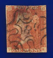 1841 SG8 1d Red Brown 3-Margin 8 in Maltese Cross B1uh PE Used Cat £160 cxem