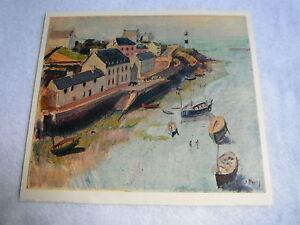 """Ancienne Lithographie Jean Puy  """" le port de douelan  """" Edition Braun & Cie"""