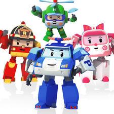 4PCS Robocar POLI ROY AMBER HELLY Transformer Transforming Robot Figures Academy