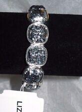 Liz Claiborne Bracelet Silver Tone Stretch W Sparkly Silver Stones NEW