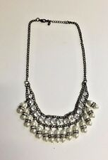 Forever 21 Gold Bronze Pearl Sparkle Classy Fun Statement Necklace Free Shipping