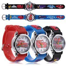 Cartoon 3D Cars Child Boys Kids Baby Girls Analog Quartz Wrist Watch Rubber