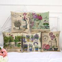 Cotton Linen Romantic Flower Throw Pillow Case Home Decor Waist Cushion Cover