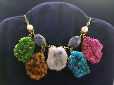 Collana Argento Bagno Oro 925 con Zaffiri, Perle di Fiume, Agata e Drusa Natural