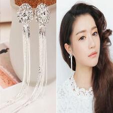 Trendy Women Crystal Long Earring Tassels Dangle Clip On Ear No Piercing Jewelry