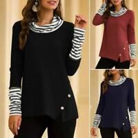 Damen Rollkragen Langarm Shirts Gestreift Jumper Pulli Sweater Strickpullover 40