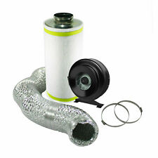 """4"""" Hydroponic Ventilation Kit In Line Fan Carbon Filter Ducting EXTRACTION"""