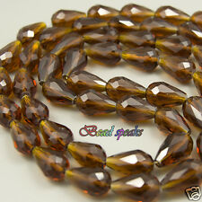 16 pcs 15×10 mm Dark Brown Faceted Vertical Teardrop Glass Crystal Beads CS045