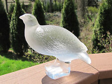 Vintage Lalique Bird Quail Frosted Glass Figurine 7'' long