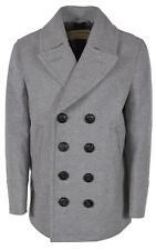 New Burberry Men's Kirkham $1,095 Grey Wool Cashmere Pea Coat Jacket XL