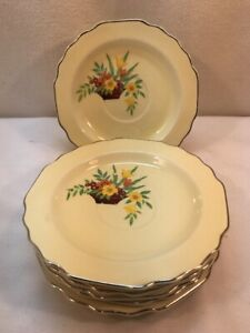 Vtg 4pc 30-40's W.S. George LIDO Canarytone flower Arrangement Cup Saucers ONLY