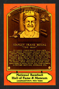 Stan Musial Autographed 1978 Dexter Press HOF Plaque Postcard Cardinals 161246