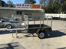 6x4 Cage Trailer - Checker Plate Floor - 3ft Galvanised Cage - 750Kg GVM
