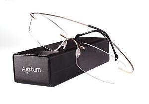 Pure Titanium Rimless Frame Prescription Hingeless Eyeglasses Rx Clear Lenses