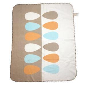 Lolli Living Baby Blanket Vintage Style Brown Retro Orange White Cotton Blend