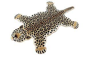Indian Handmade Tufted 100% Woolen Leopard Skin Shape Carpet Rugs Brown 3'x5'Ft