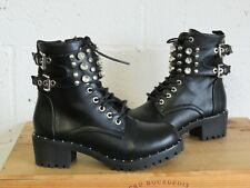 BLACK FAUX LEATHER CHUNKY STUDDED BIKER BOOTS SIZE 4 / 37 BY MUTANKA GOOD USED