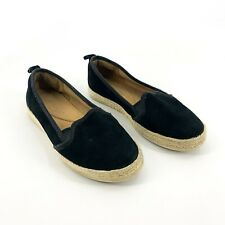 Clarks Size 7 Medium Black Perforated Suede Espadrille Slip On Shoes Women's