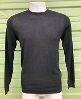 NWT ZARA MAN Black Premium Cotton light sweater Straight ROUND neck  M $45 #336