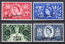 KUWAIT 1953 QEII GB OVERPRINTED CORONATION ISSUE SCOTT 113-116 MLH