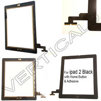 For ipad 2 Black Touch Screen Digitizer Glass Front Replacement Home Button