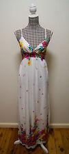 FILO WHITE MULTI-COLORED FLORAL PRINT MAXI DRESS, Sz M/8,10
