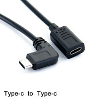 Type-c USB 90 degree Male to USB-C Female Extension OTG Cable Extender Cord FO