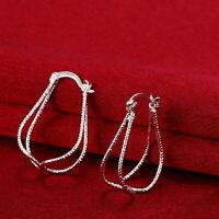 30 mm Double U-Shaped Hoop Earrings Women 925 Sterling Silver Diamond Cut