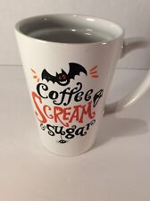 """Coffee Scream & Sugar"" Mug Spider Bat Mask Halloween Coffee Cup 13.2 oz"