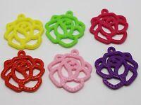 50 Mixed Bubblegum Color Acrylic Rose Flower Flat Charm Pendants 30mm