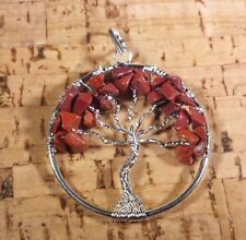 NATURAL RED JASPER TREE OF LIFE  WIRE WRAPPED PENDANT STONE GEMSTONE
