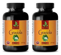 pure graviola - GRAVIOLA 650mg - soursop guanabana - 2 Bottles 200 Capsules