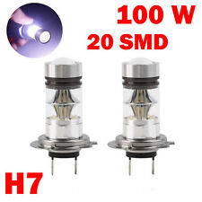 2 Pcs H7 100W Bulbs 6000K LED 20-SMD Projector Fog Driving DRL Light HID White