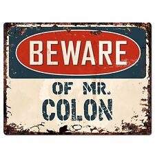 PP3192 Beware of MR. COLON Plate Chic Sign Home Store Wall Decor Funny Gift