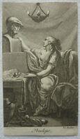 """KUPFERSTICH """"PENELOPE"""" vor 1780 ca 5 x 9 cm Kaldewey's Lese-Kabinett Meil Endner"""