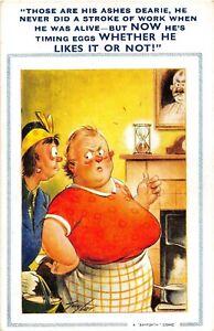 POSTCARD COMIC  FAT WIDOW - HUSBANDS ASHES - EGG TIMER -   BAMFORTH # 1294
