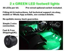 2 x 25cm Green LED footwell lights includes switch fitting kit and instructions
