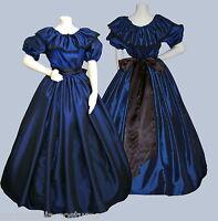 Ladies Victorian  or American Civil War 3pc costume fancy dress size 6-20 blue