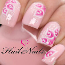 Nail Art Wraps Water 3D Nails Transfers Decals Lace Lily Bride Pink Wedding 1028