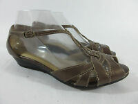 Clarks 79089 Bronze Leather Strappy Wedge T-Strap Sandal Women's Size 8 M