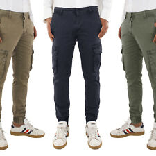 Pantalone Uomo Cotone Casual Cargo Tasconi Laterali Jeans Leggero VEQUE