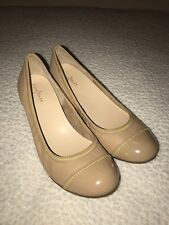 COLE HAAN 'Milly' Beige Leather Round Toe Wedges - Size 9.5 - NEW!