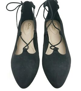 Clarks Somerset ballet flat pumps womens Size 5.5 Black Suede Lace Up Melody