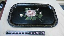 Vintage Hand Painted Metal Serving Tray Roses 18 X 11