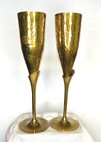 "Hammered Brass Champagne Wedding Anniversary Flutes Vintage 1970's 9.75"" Tall"