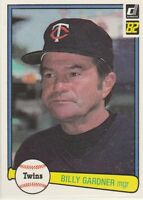 FREE SHIPPING-MINT-1982 (TWINS) Donruss #591 Billy Gardner MANAGER