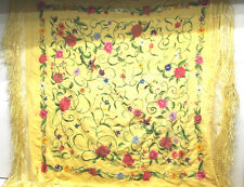 """Mid Century Floral Machine Embroidered Silk Tasseled 30"""" x 30"""" Card Tablecloth"""