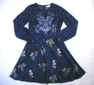 Womens Dress-ANN TAYLOR LOFT-black/navy/pink/yellow floral silky A-line ls-2